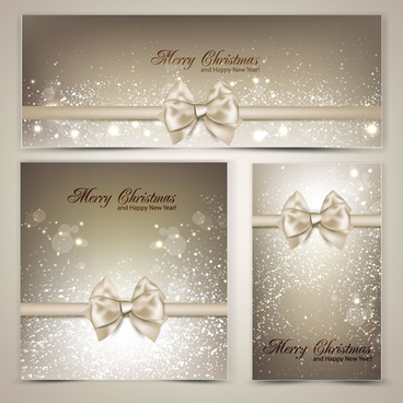 christmas ornate gift cards vector set