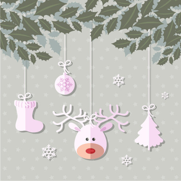 christmas paper cut baubles vectors