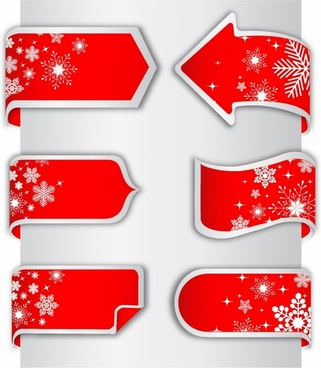 Christmas Paper Ribbon Banner label tags