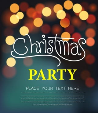 christmas party banner bokeh decoration