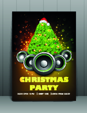 christmas party flyer vector template