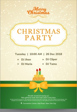 christmas party invitation card with cake and golden ribbon over green bottom border and beige snowfall background