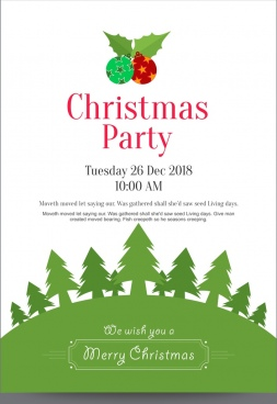 christmas party invitation poster or card with wine glasses having grey snowflake background and green bottom border with ornaments