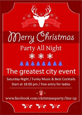 christmas party leaflet on red background