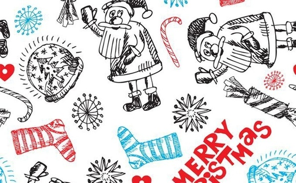 christmas background classical icons handdrawn design