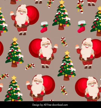 christmas pattern cute santa claus fir trees decor