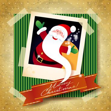 christmas photo frame background vector