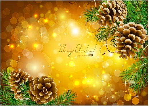christmas pine cones vector star
