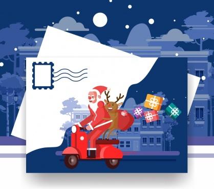 christmas postcard template santa reindeer motorbike icons