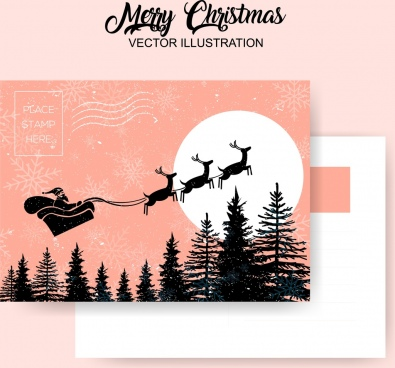 christmas postcard template sleighing santa claus classical design