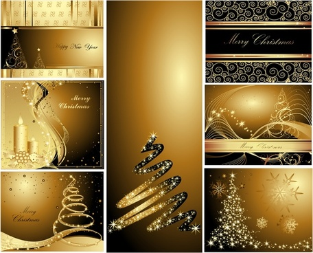 christmas background templates elegant sparkling golden decor
