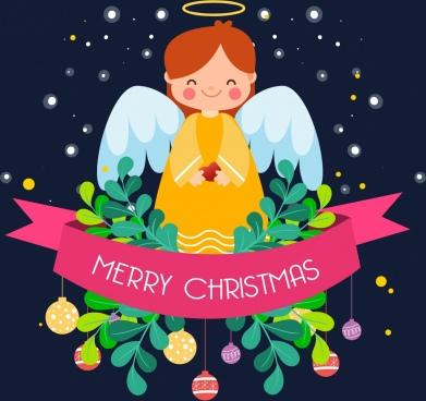 christmas poster angel ribbon decoration colored cartoon design