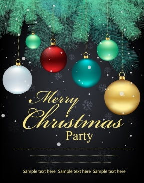 christmas poster fir tree colorful baubles decoration