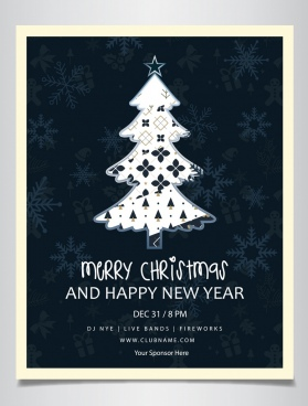 christmas poster fir tree icon dark design
