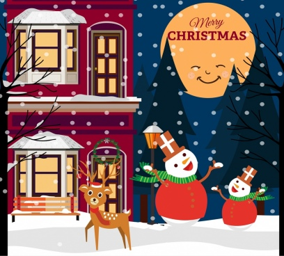 christmas poster stylized moon snowman reindeer icons decor