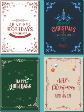 christmas poster templates classical decorative corner decor