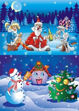 christmas backgrounds cute colorful cartoon design