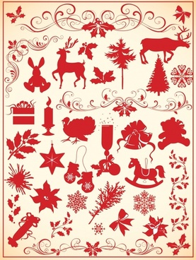 christmas card background classical symbols elements silhouettes design