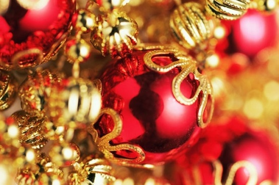 christmas red golden ball highdefinition picture 1