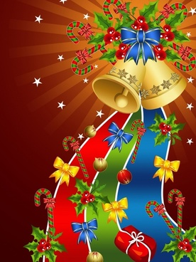 christmas background bright colorful baubles bells decor