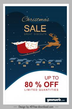 christmas sale banner sleighing reindeer dark night sketch