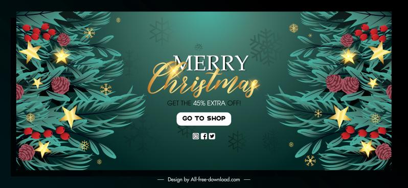 christmas sale banner template sparkling fir tree decor
