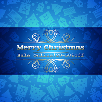 christmas sale blue vector background