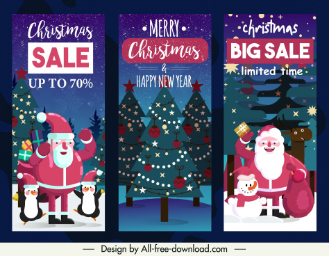 christmas sale flyers templates classic santa fir trees decor