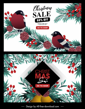 christmas sale posters birds pine tree elements decor