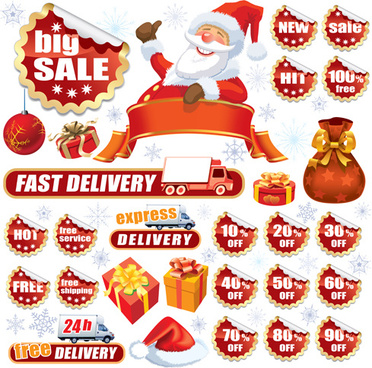 christmas sale tags and stickers design vector