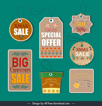 christmas sale tags templates elegant classical shapes