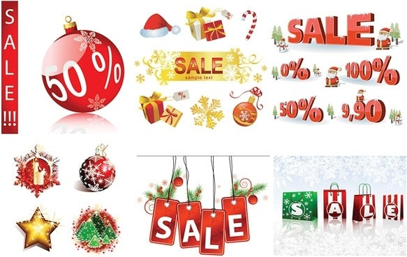 christmas sales discount decorative elements vector