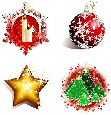 christmas design elements shiny sparkling baubles icons