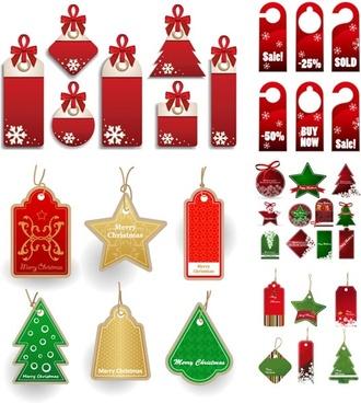 christmas sales discount tag vector