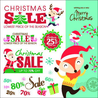 christmas sales elements vector illustration