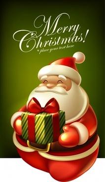 christmas santa claus gift box vector