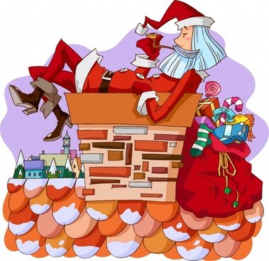 christmas painting funny santa icon cartoon sketch