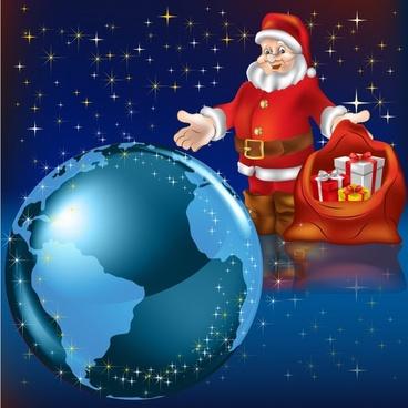 christmas santa claus vector earth