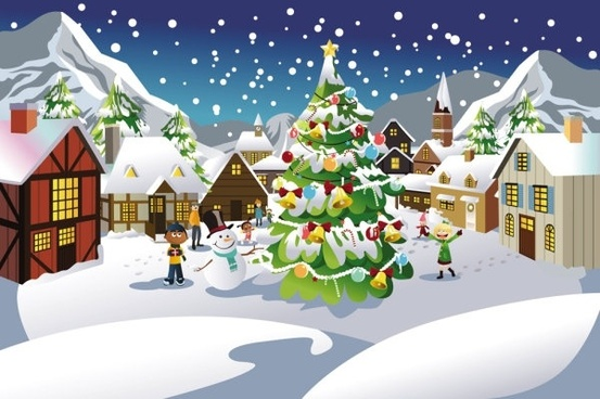 christmas scene illustration 03 vector
