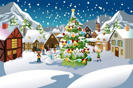 christmas scene snow scene vector illustration