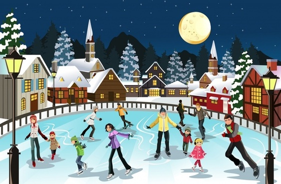 christmas scene snow scene vector skating