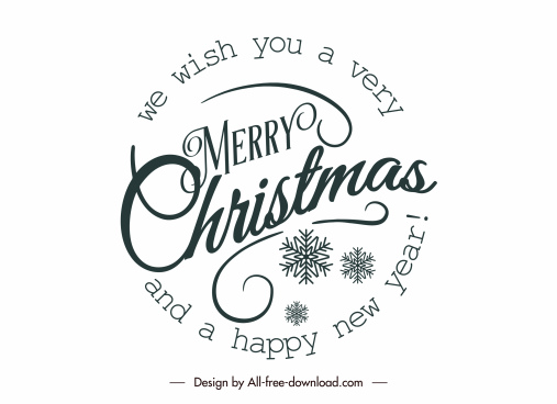 christmas sign template calligraphic snowflakes decor circle layout