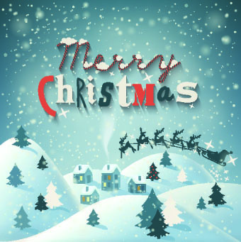 christmas snow night vector background