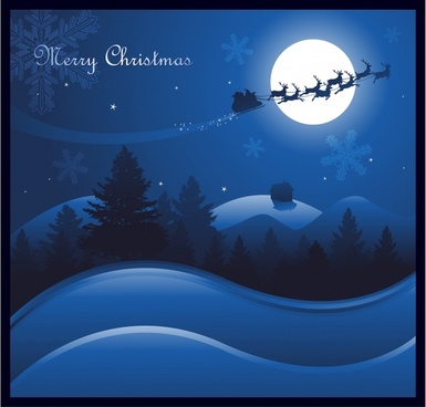 xmas background moonlight sleighing santa dark blue design