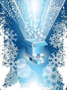 christmas background bursting light box snowflakes decor