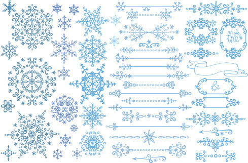 christmas snowflake ornaments elements vector