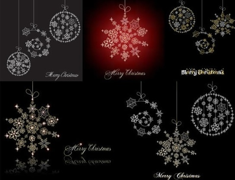 christmas background templates flat design hanging snowflakes