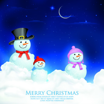 christmas snowman design elements vector