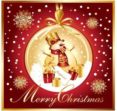 christmas snowman snowflake vector