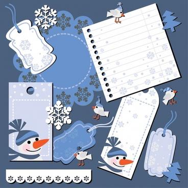 christmas snowman snowflakes vector
